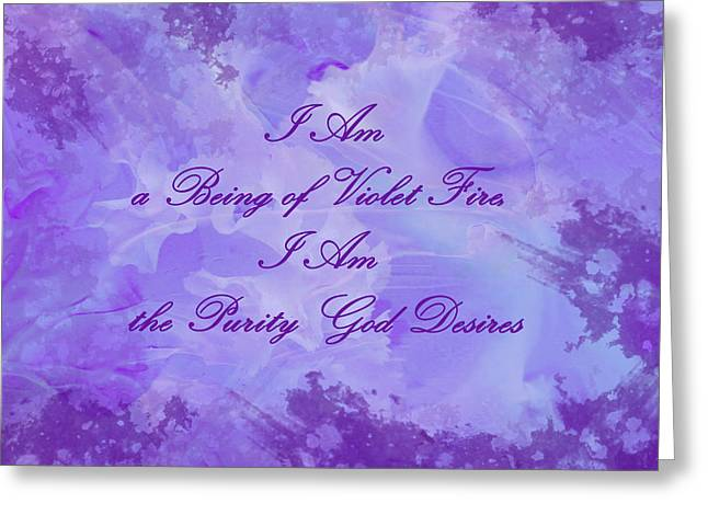 Living Beings Greeting Cards - Mantra of Violet Fire Greeting Card by Jenny Rainbow