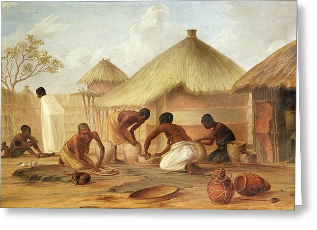 African Huts Greeting Cards - Manufacture Of Sugar At Katipo - Making The Panellas Or Pots To Contain It, 1859 Oil On Canvas Greeting Card by Thomas Baines
