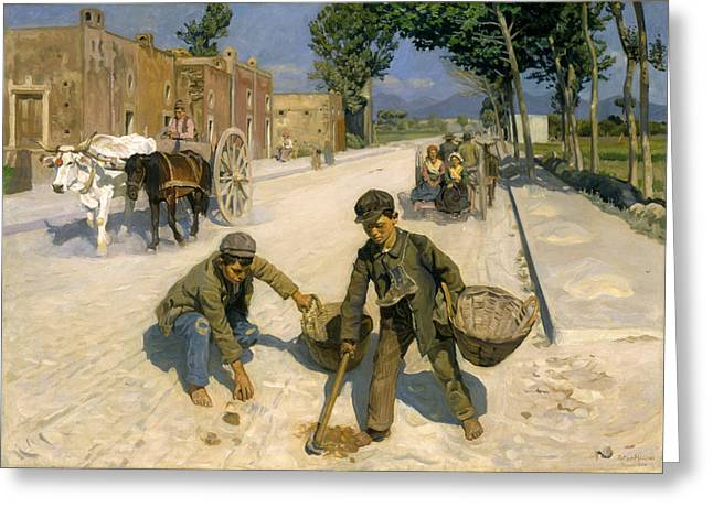 Gatherers Greeting Cards - Manure Gatherers Greeting Card by Peter Hansen