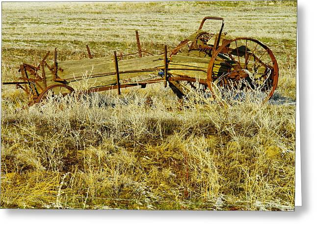 Old Relics Greeting Cards - Manure Spreader Greeting Card by Jeff  Swan