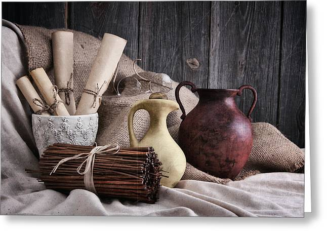 Earth Tone Photographs Greeting Cards - Manuscripts Still Life Greeting Card by Tom Mc Nemar