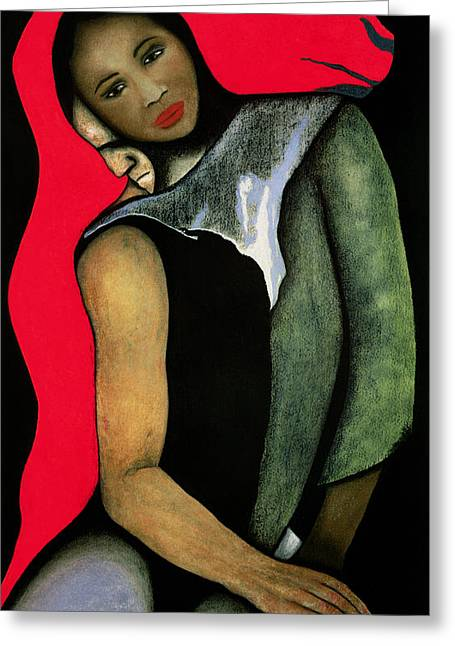 Manwoman And A Red Horse Greeting Card by Stevie Taylor