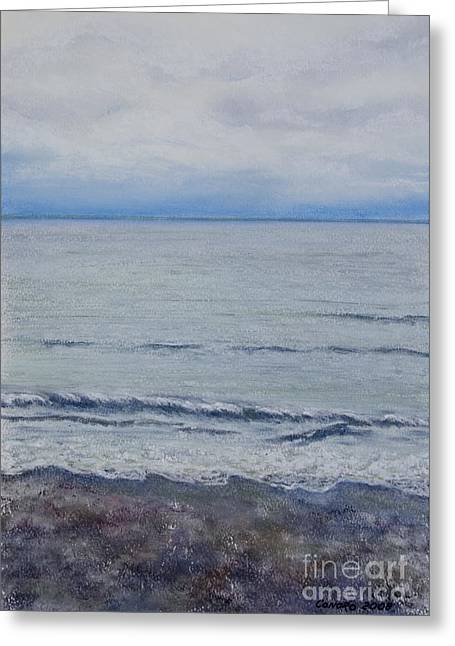 Atlantic Beaches Pastels Greeting Cards - Manx Mist Greeting Card by Stanza Widen