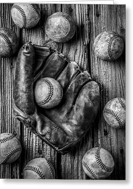 Rusty Nail Greeting Cards - Many Baseballs In Black and White Greeting Card by Garry Gay