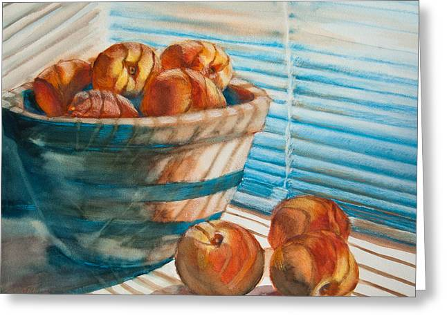 Striped Greeting Cards - Many Blind Peaches Greeting Card by Jani Freimann