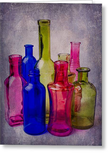 Breakable Greeting Cards - Many Colorful Bottles Greeting Card by Garry Gay