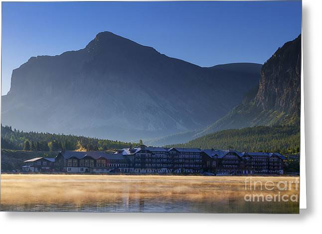 Many Glacier Greeting Cards - Many Glacier Hotel Greeting Card by Mark Kiver