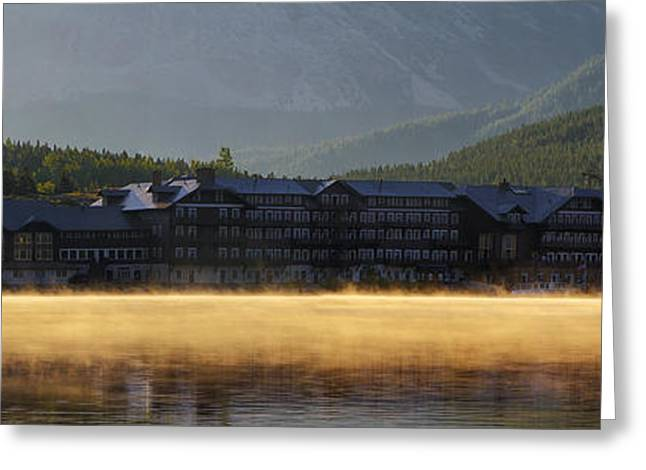 Many Glacier Greeting Cards - Many Glacier Hotel Sunrise Panorama Greeting Card by Mark Kiver