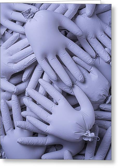 Same Greeting Cards - Many Gray Hands Greeting Card by Garry Gay