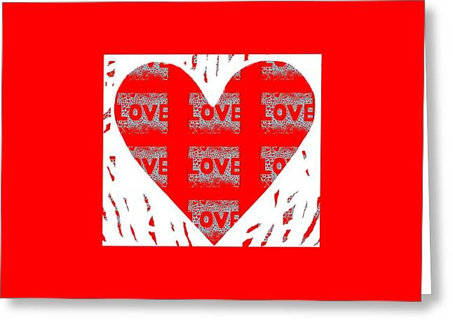 With Love Mixed Media Greeting Cards - Many Hearts - One Love Greeting Card by Helena Tiainen