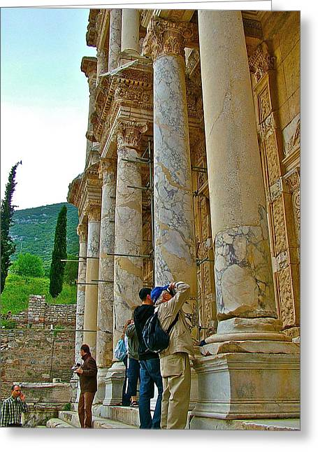 Library Of Celsus Greeting Cards - Many Photographers at Library of Celsus-Ephesus Greeting Card by Ruth Hager