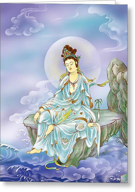 Kuan Greeting Cards - Many Treasures Avalokitesvara  Greeting Card by Lanjee Chee