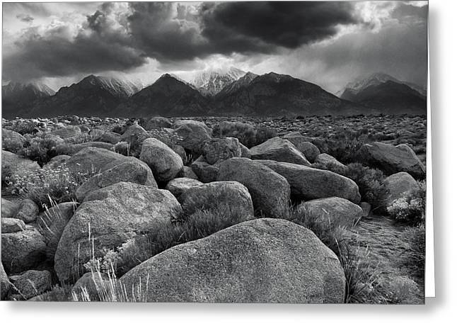 Pm Greeting Cards - Manzanar Boulders 3 Greeting Card by Don Hall