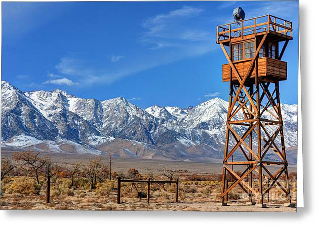 Guard Tower Greeting Cards - Manzanar World War Two Relocation Camp Guard Tower Greeting Card by Gary Whitton