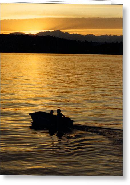 Bainbridge Island Greeting Cards - Manzanita Bay Washington Sunset Cruising Greeting Card by Jack Pumphrey