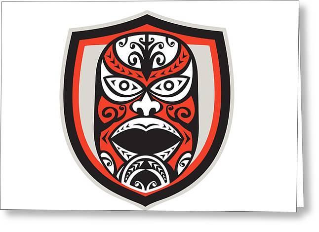 Maori Greeting Cards - Maori Mask Shield Retro Greeting Card by Aloysius Patrimonio