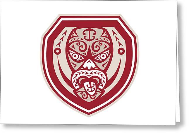 Maori Greeting Cards - Maori Mask Tongue Out Shield Retro Greeting Card by Aloysius Patrimonio