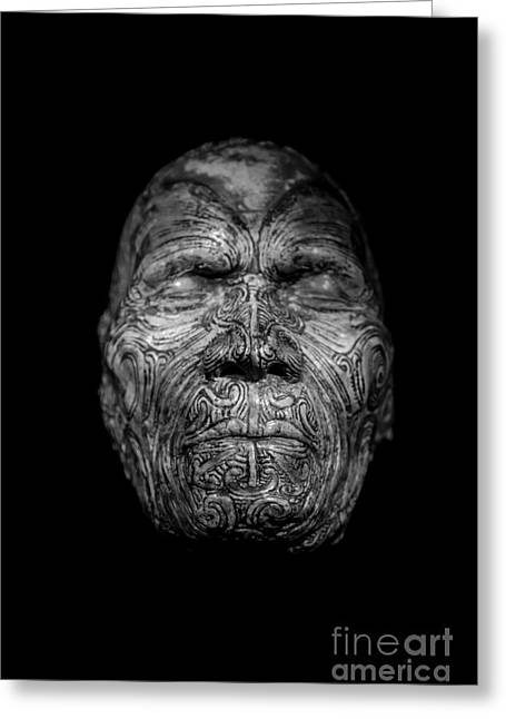 Masked Greeting Cards - Maori Tatoo Man Face Mask Greeting Card by Edward Fielding