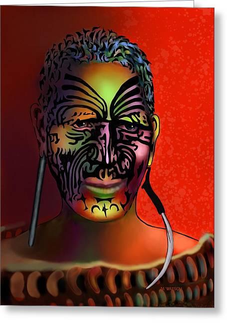 Tattoo Culture Greeting Cards - Maori Warrior - 6 Greeting Card by Marlene Watson