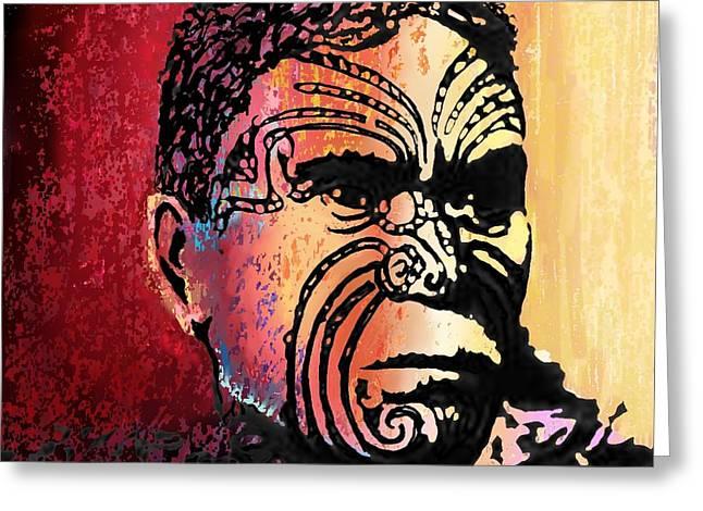 Human Spirit Greeting Cards - Maori Warrior - 3 Greeting Card by Marlene Watson