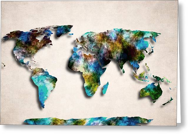 Planet Map Greeting Cards - Map Art Of The World - Abstract Design Greeting Card by World Art Prints And Designs