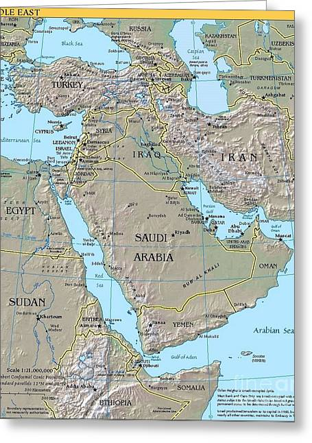 Iraq Drawings Greeting Cards - Map - Middle East Greeting Card by Pg Reproductions