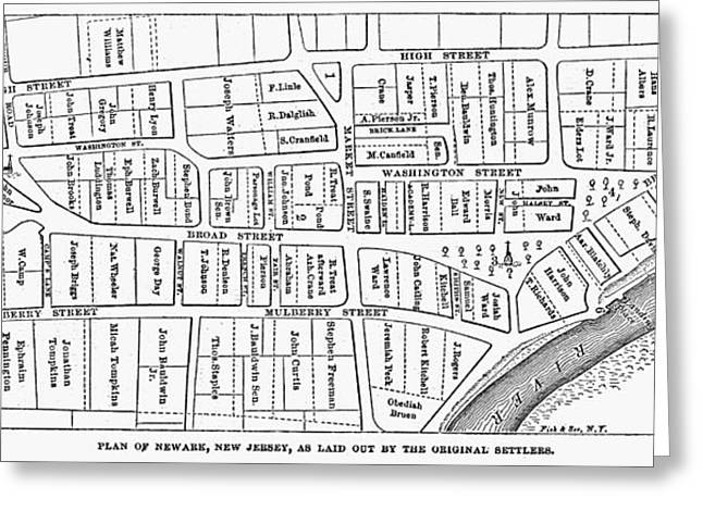 1876 Greeting Cards - Map: Newark, 1876 Greeting Card by Granger