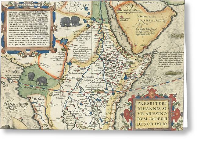 Border Drawings Greeting Cards - Map of Africa and the Arabian Peninsula Greeting Card by Abraham Ortelius