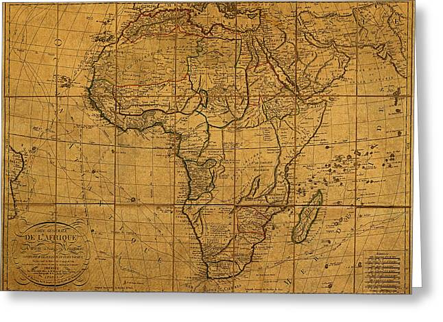 Africa Map Greeting Cards - Map of Africa Circa 1829 on Worn Canvas Greeting Card by Design Turnpike