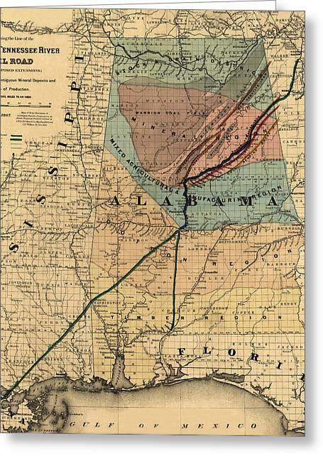 Tennessee River Greeting Cards - Map of Alabama 1867 Greeting Card by Andrew Fare