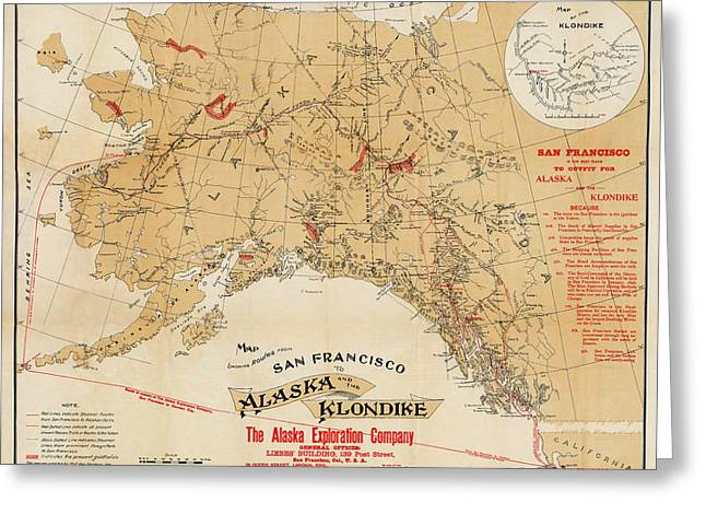 Klondike Gold Rush Greeting Cards - Map of Alaska 1898 Greeting Card by Andrew Fare