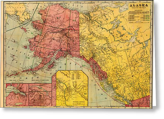 1901 Greeting Cards - Map of Alaska and Eastern Canada 1901 Greeting Card by Mountain Dreams