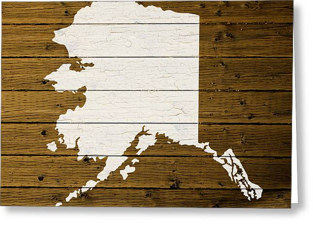 Outline Greeting Cards - Map Of Alaska State Outline White Distressed Paint On Reclaimed Wood Planks. Greeting Card by Design Turnpike