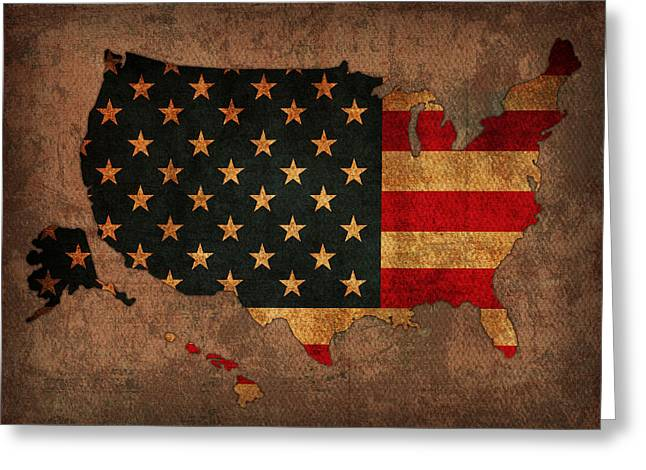 Map Mixed Media Greeting Cards - Map of America United States USA With Flag Art on Distressed Worn Canvas Greeting Card by Design Turnpike