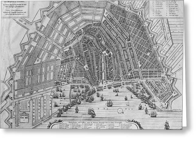 City Canal Greeting Cards - Map Of Amsterdam, 1662 Engraving Bw Photo Greeting Card by Cornelis I Danckerts