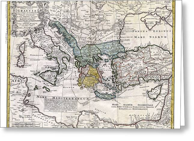 Vintage Map Paintings Greeting Cards - Map of Ancient Greece and the Eastern Mediterranean by Heirs Homann - 1741 Greeting Card by Pablo Romero