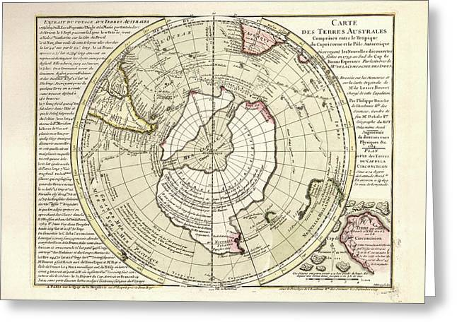 Map Of Antarctica Greeting Card by Library Of Congress, Geography And Map Division