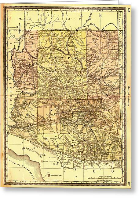 1880s Drawings Greeting Cards - Map of Arizona 1883 Greeting Card by Mountain Dreams