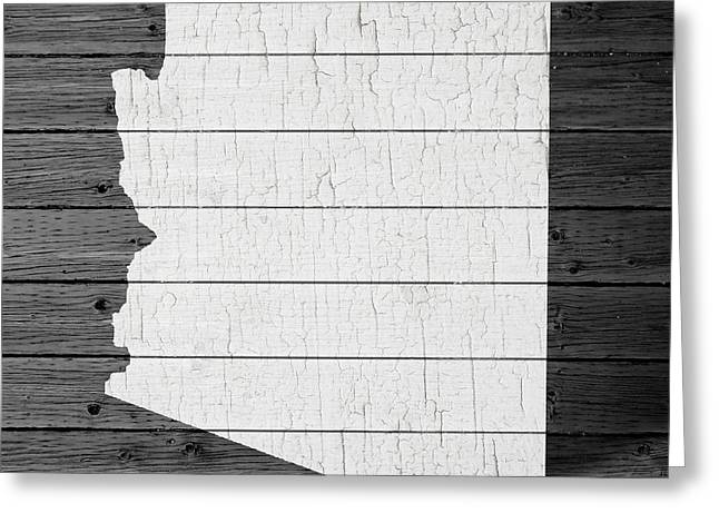 Surprise Greeting Cards - Map Of Arizona State Outline White Distressed Paint On Reclaimed Wood Planks Greeting Card by Design Turnpike