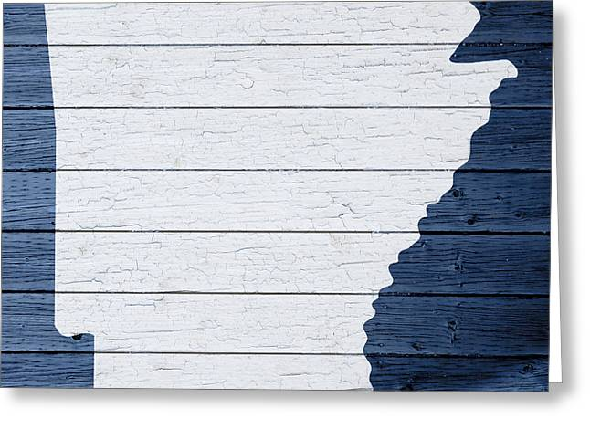 Arkansas Greeting Cards - Map Of Arkansas State Outline White Distressed Paint On Reclaimed Wood Planks Greeting Card by Design Turnpike