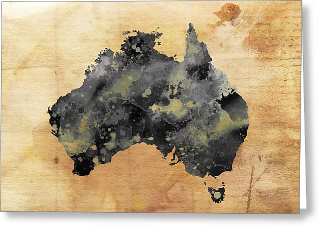 Map Of Australia Grunge Greeting Card by Daniel Hagerman
