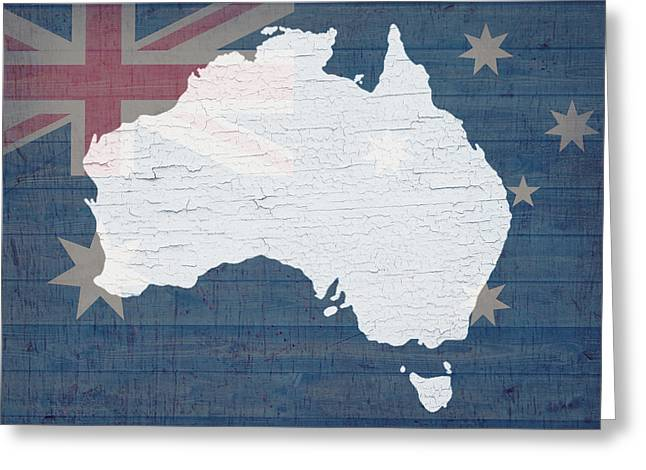 Barn Wood Greeting Cards - Map of Australia in White Old Paint on Australian Flag Barn Wood Greeting Card by Design Turnpike