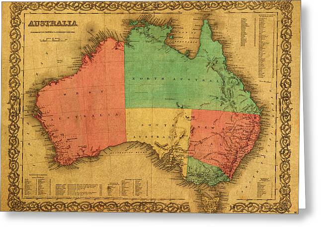 Australia Mixed Media Greeting Cards - Map of Australia Vintage 1855 on Worn Canvas Greeting Card by Design Turnpike
