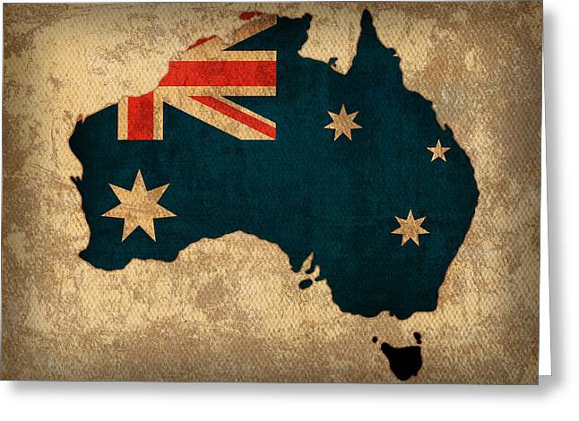 Map Mixed Media Greeting Cards - Map of Australia With Flag Art on Distressed Worn Canvas Greeting Card by Design Turnpike