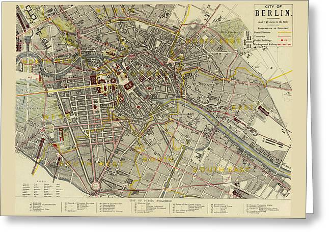 Berlin Germany Greeting Cards - Map of Berlin 1883 Greeting Card by Andrew Fare