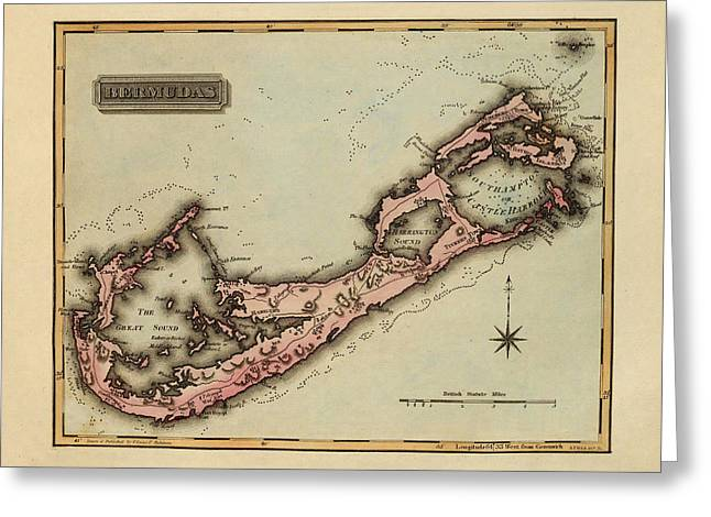 Vintage Map Photographs Greeting Cards - Map of Bermuda 1823 Greeting Card by Andrew Fare