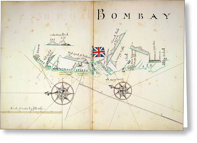 Map Of Bombay Coastline Greeting Card by British Library