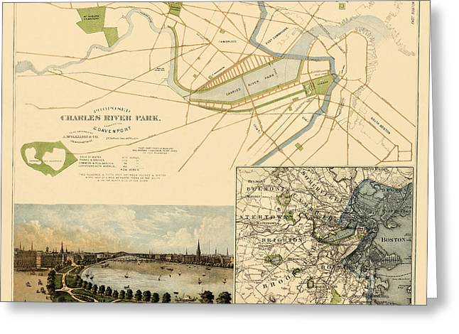 Charles River Greeting Cards - Map of Boston 1880 Greeting Card by Andrew Fare