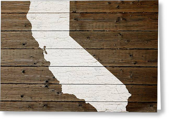 Plank Greeting Cards - Map of California State Outline White Distressed Paint on Reclaimed Wood Planks Greeting Card by Design Turnpike