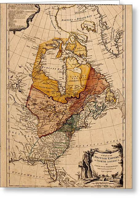 Map Of Canada Greeting Cards - Map of Canada 1776 Greeting Card by Andrew Fare